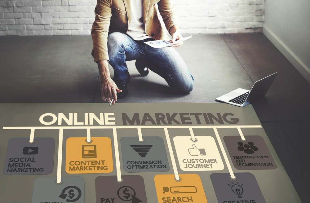 man-with-laptop-and-a-graph-on-ground-showing-how-online-marketing-works